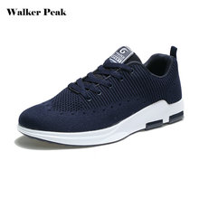 WalkerPeak MR Men Running Shoes Mesh Breathable Sneakers Cushioning Wear-Resisting Male Outdoor Flyknit Racer Brand Sports Shoes