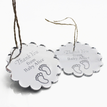 Set of 50pcs Personalized Engraved Mirror Baby Shower Tags Thank You Tags Decor Tags Gifts Birthday Decor Favors 45x45mm(China)