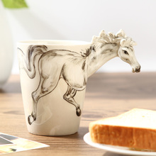 Chinese Kung Fu Tea, Mug, Couples Cup. First 3D Stereoscopic Animal Cup Ceramic Painted Horse Models, Free Shipping(China)