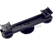 Hot Shoe Extension Bar Mount Dual Bracket For DV Video Camera LED Light SLR Rig -R179 Drop Shipping