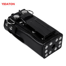 YIDATON New Hard Leather Carring Case Bag Holder With Belt Clip And Strap For Motorola GP328 GP340 GP360 GP380 Walkie Talkie