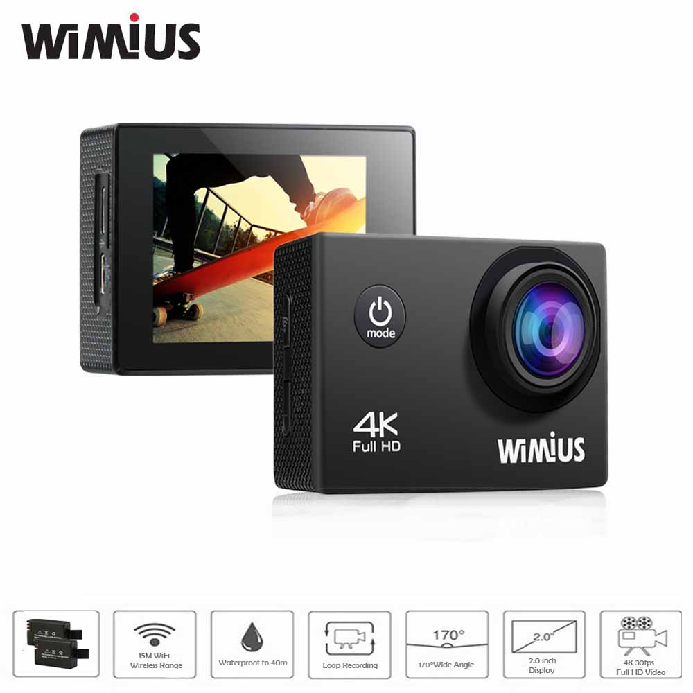 Wimius 2.0 Inch Action Camera 4K Full HD Wifi Mini Video Sports Cam Go Waterproof 40M Pro 170 Degree Wide Angle DV + Accessories(China (Mainland))