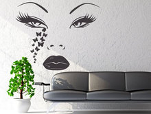 High Quality Woman Face Decal Girls Beauty Salon Wall Stickers Butterfly Tears Vinyl Special Modern Design Home Decor Art SYY505