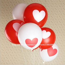 500pcs/lot Romantic 12 Inches 2.8g red/white Heart Love Latex Balloons Wedding Birthday Party Valentines Day For Decoration(China)