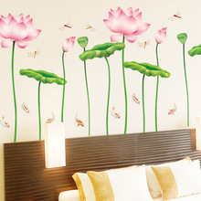 3d Creative Dragonfly Fly In The Lotus Pool Flower Decorative Wall Stickers Fish Nature Wall Posters Adesivo De Parede Murals