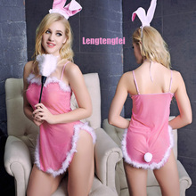 Buy 2016 Sexy Women Erotic Lingerie Dress Women Sexy Lovely Pink Bunny Role-playing Uniform Temptation Costumes Sexy Lingerie