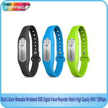 New Design Multi Colors Wearable Wristband 8GB Digital Voice Long Time Recorder Watch High Quality WAV 128Kbps Free shipping!!(China)