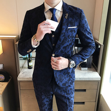 Smoking Jackets Mens Royal Blue Suits 2017 Men Suits Slim Fit British Style Tuxedo Print Wedding Mens Dinner Jackets Social Club(China)