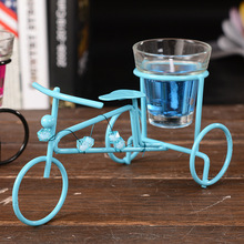 2017 Metal bike candle holder Tea light Candle stand Glass Candle Holders Wedding Table Decorative floating velas yankee candle(China)