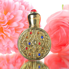 Vintage Gold Retro Metal and Glass Empty Women Perfume Bottle Container Refillable Essential Oil Bottle Portable Lady Gift 3ml(China)
