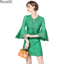 2017 Women Spring Summer Fashion Green White Flower Floral Embroidery Flare Flute Sleeve Short Casual Work Beach Dress D1971(China)