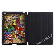 Hero Iron Man Thor Captain America Hulk Spider Cover Case For Apple iPad Mini 1 2 3 4 Air Pro 9.7 10.5 2017 a1822(China)