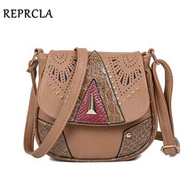 REPRCLA Vintage Hollow Out Women Shoulder Bag High Quality Crossbody Bags for Women Messenger Bags Patchwork PU Handbags(China)