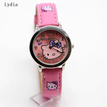 Hot Top Brand Free Shipping New leather wrist watch children girl cartoon fashion hello kitty student quartz watch