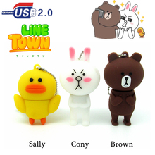 new Line Town series usb flash drive Brown Bear pen drive Cony rabbit/Sally duck memory stick 4gb 8gb 16gb 32gb metal chain