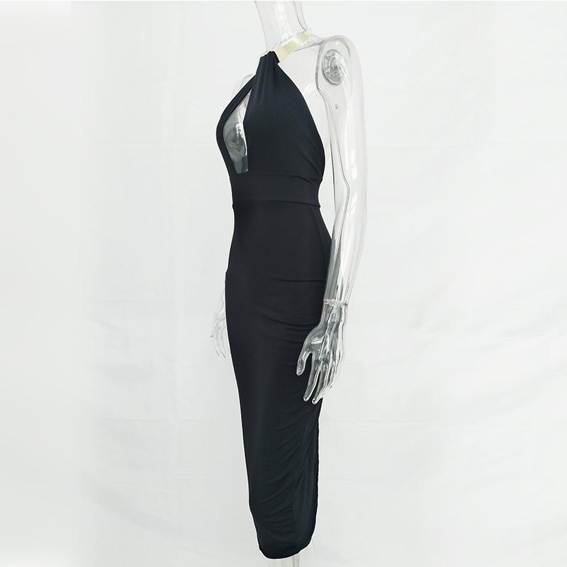 Articat Hollow Out Party Bodycon Bandage Dress Women 17 Off Shoulder Choker Long Pencil Dress Sexy Backless Split Winter Dress 15