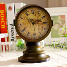 Retro Table Clock Antique Relogio Vintage Home Decor Double-sided Metal Desk Clock Watch Table Retro 24*18cm