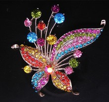 OneckOha Colorful Rhinestone Butterfly Brooch Pin Alloy Garment Accessories Wedding Bridal Brooch Pin