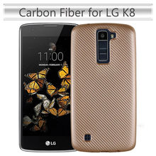 Cover For LG K8 Case Carbon Fiber Brushed TPU Rubber Silicone Mobile Phone Cases For LG K8 Slim Hybrid Armor Cover(China)