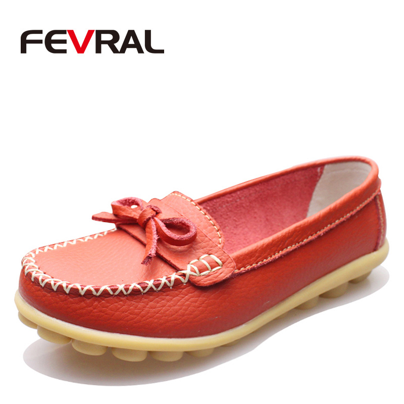 FEVRAL New Hot 7 Colors Natural Leather Woman Flats Casual Moccasins Driving Loafers Woman's Shoes Fashion Comfortable Shoes(China)