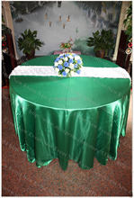"132"" Round Green Color(NO.86) Satin Tablecloth/Table Cover/Chair Cover/Chair Sash For Wedding Party Hotel Banquet Decorations"