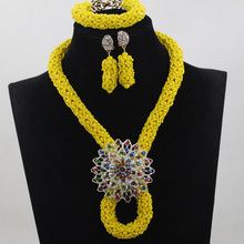 Latest Yellow African Wedding Party Beads Jewelry Set Nigerian Bridal Choker Celebration Beads Jewelry Set  Engagement QW385