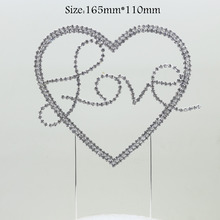 "1 pcs Romantic Crystal Rhinestone Cake Topper ""Love"" Romantic Bride Groom Wedding Decoration for kids birthday party(China)"