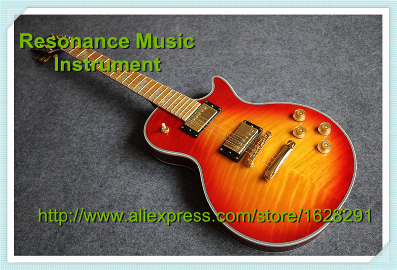 New Arrival 100% Real Pictures Flame Maple Fretboard LP Superme Electric Guitars China Left Handed Guitar Kits & Body Available(China (Mainland))