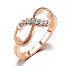 Hot Sale Love Romance Infinity Gold Color Ring Bow Knot Women Party Wedding Jewelry Crystal Rhinestone Finger Rings For Lovers(China)
