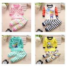 Hot Baby Boys Girls Long Johns Child Underwears Winter Clothing Set Baby Boys Clothes Sleeping Clothing 100% Cotton Kids Suit(China)
