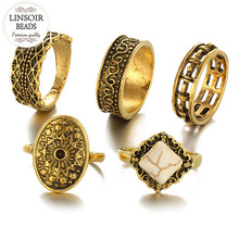 LINSOIR 2017 Boho Antique Gold Color Midi Fingers Rings Sets For Women Fashion Retro Turquoises Knuckle Ring Bagues Femme F6591(China)