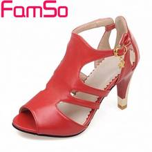 FAMSO Size34-43 2017 Shoes Women Gladiator Pumps peep toe Black red High Heels Sandals Designer Ladies Office Shoes Pumps PS2384