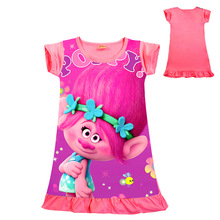 Trolls Girls Dress Poppy Printed Cartoon Home Pajamas Dress Short Sleeved Summer Cotton Princess Dress Kids Clothing 3-10 Years