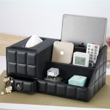 Multipurpose Desk Organizer Leather PU Vintage Office Desk Storage Box Black Classic Pencil Holder Stationery Collection Boxes(China)