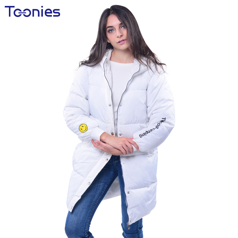 Smiling Face Printed Cotton Jackets for Womens Overcoat Long Loose Outwear Female Winter Parkas Coats and Jackets 2017 ThickÎäåæäà è àêñåññóàðû<br><br>