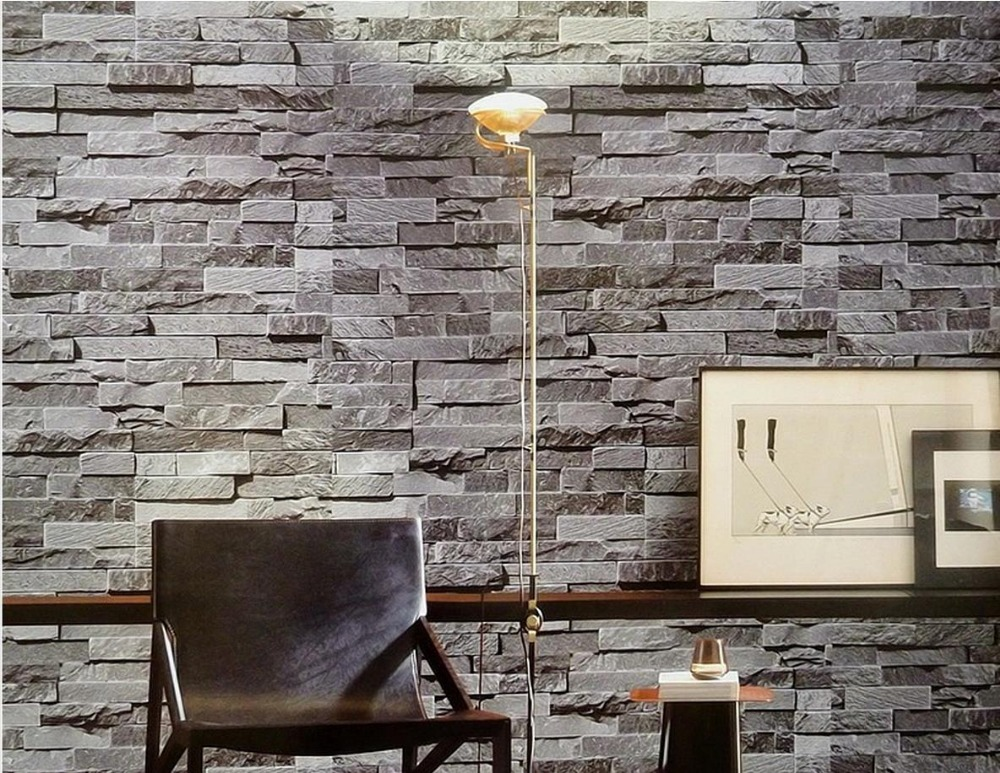 Modern Chinese 3D stereoscopic brick wallpaper pattern simulation brick tiles culture stone non woven roll wallpapers<br>