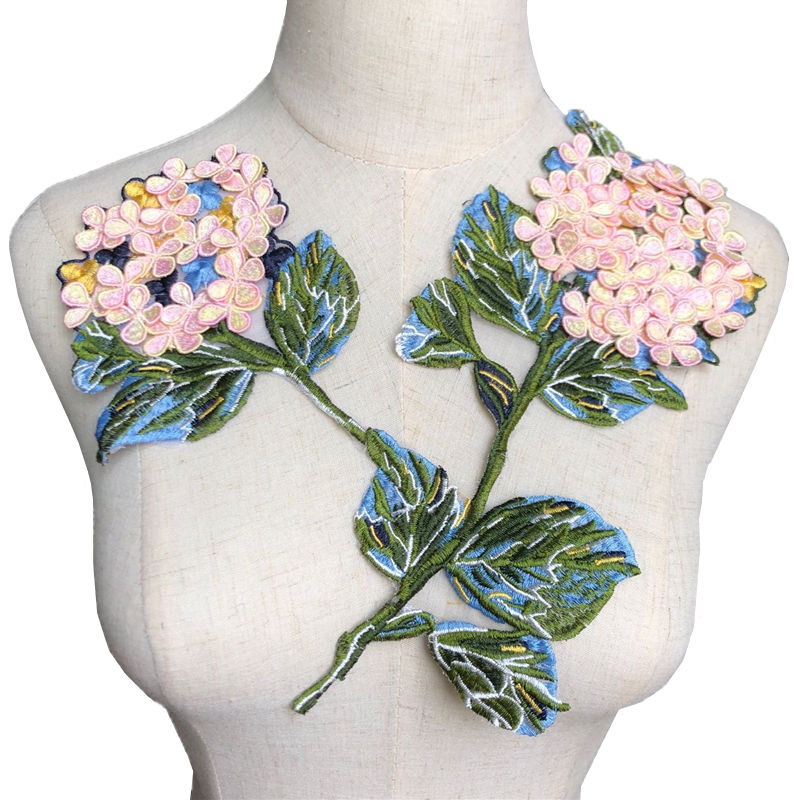 FLOWER LAYERED w//BEADS Iron On Embroidered Patch Trim Fashion Flower