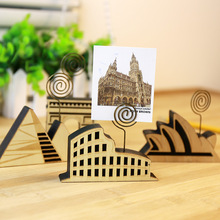 Kawaii Cute Building Shaped Office Supplies Accessories Wooden Photo Binder Memo Holder Paper Clips Triumphal Arch Paris Egypt