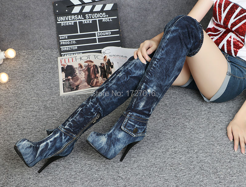 Spring Fashion Women Thigh High Boots Blue Denim Motorcycle Boot Shoes Woman Over The Knee Autumn Botas Mujer Scarpe Donna<br><br>Aliexpress