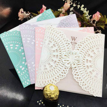 50 Pieces/lot Laser Cutting Hollowed Flower Fashion Design Paper invitation Cards Elegant Wedding Invitations Cards Craft