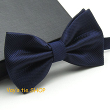 2014 New XMAS Gift Mens Fashion Dull Jacquard Plaid Grid Leisure Solid Bowtie Wedding Tuxedo Bow Ties Free shipping Navy Blue 12