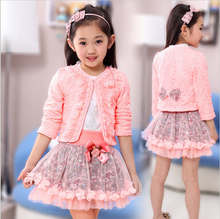 2017 fashion children clothing for kids flower outfits sets girl 3 piece Princess lace ruffle cardigan tops TuTu skirts suits(China)