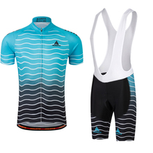 Miloto Men Bicycle Cycling Jersey Shorts Set Short Sleeve Sport Bib Shorts Clothing Sky Blue S-4XL