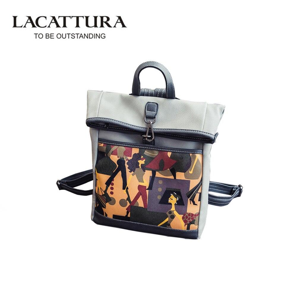 LACATTURA Woman PU Leather Bag Printing Graffiti Backpacks School Bags For Teenage Waterproof Casual Bag mochila feminina<br>