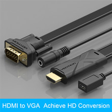 Vention 1M 1.5M 2M HDMI to VGA HD Cable Adapter Converter Male to Male with Audio 1080P for TV box to Projector Cable VGA