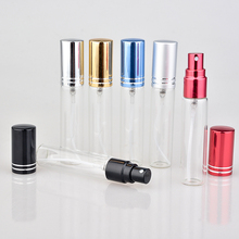 Wholesale 100Pieces/Lot 10ML Portable Colorful Glass Perfume Bottle With Atomizer Empty Cosmetic Containers For Travel(China)