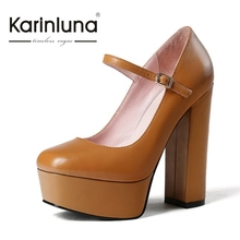 KarinLuna 2017 Fashion Mary Janes Buckle Design Woman Shoes Sexy Ultra Thick High Heel Pumps OL Party Women Shoes