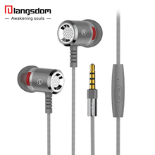 Metal Earphones langsdom M400 Super Bass earphone with Microphone Hifi Headsets for phone computer MP3 3.5mm In-ear Original(China)