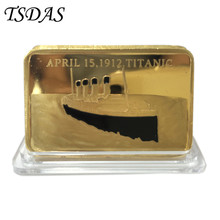 Luxury Titanic 24K Gold Bar Decoration Personalized Coin, Double Side Gold Bullion Souvenir Gift 1pc Free Shipping