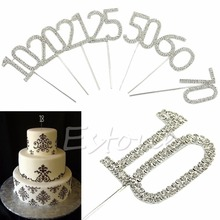 Free Shipping 1Pc Sparkling Rhinestone Crystals Birthday Anniversary Number Cake Topper